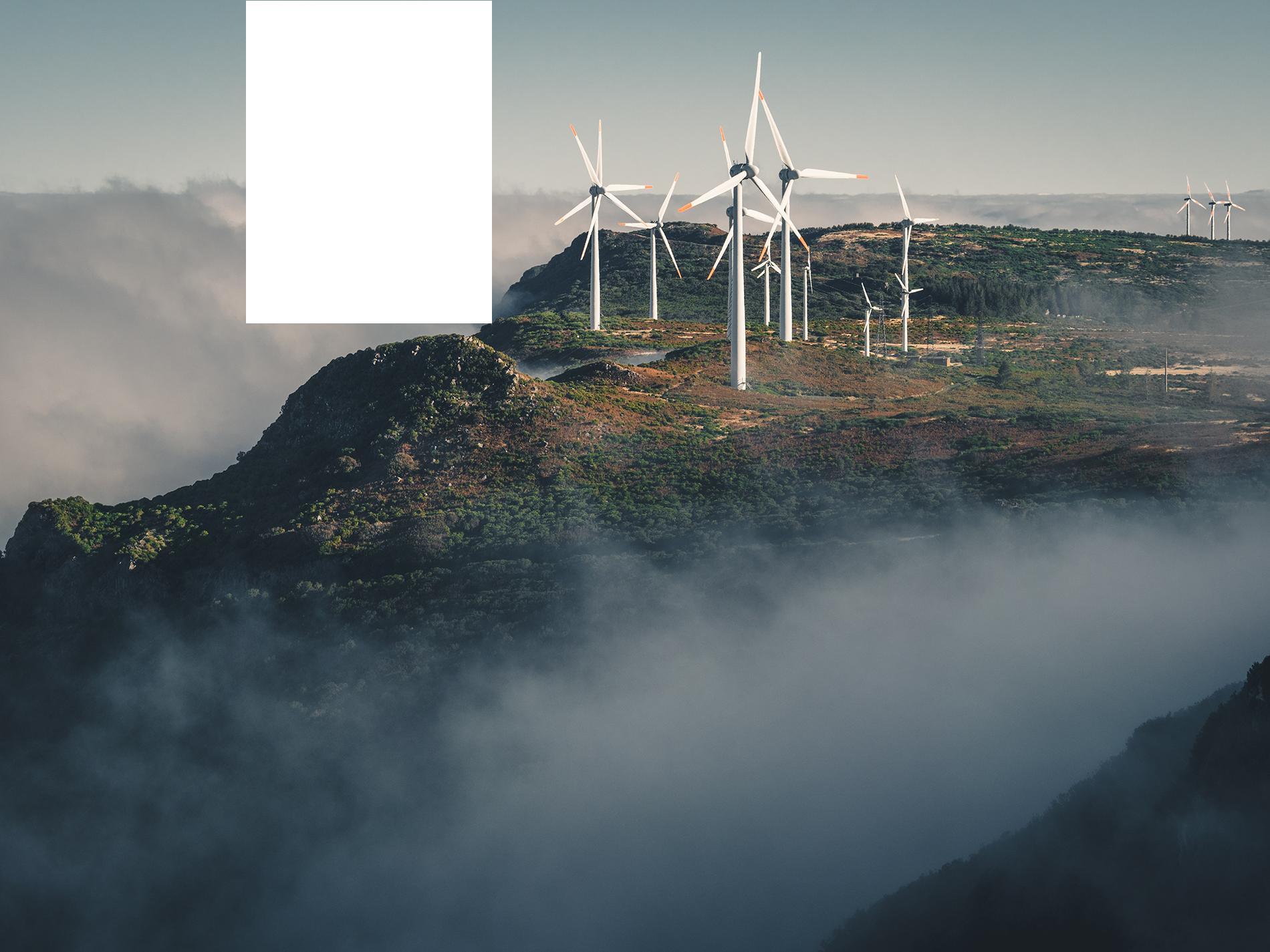 Windmolens op een berg